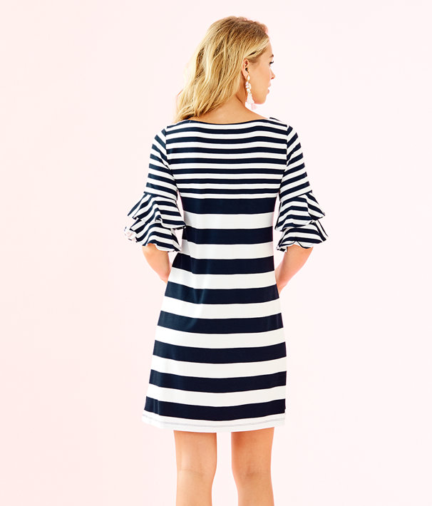 Lula Dress, True Navy Pop Up Safari Stripe Eng Dress, large