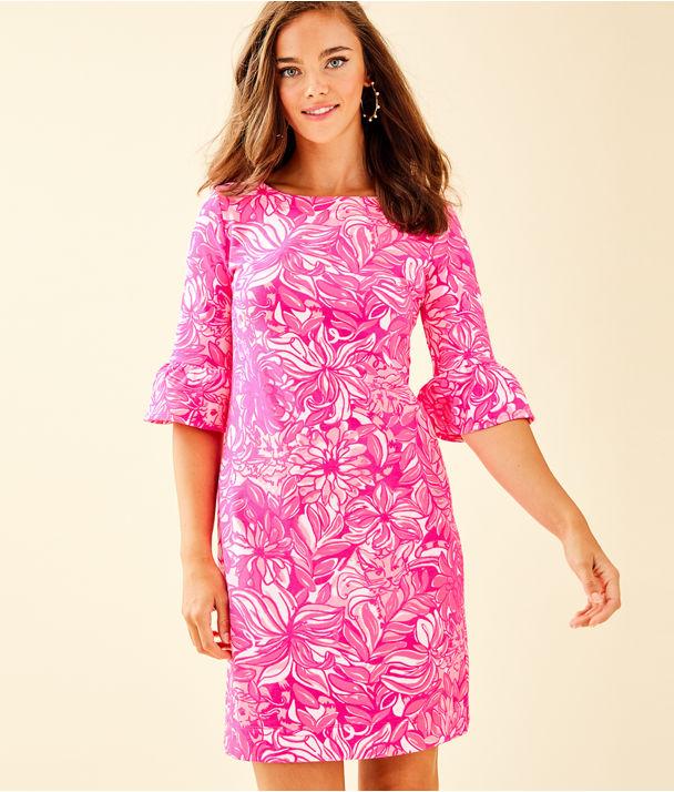 Alden Dress, Bougainvillea Pink Pawsitive Cattitude, large