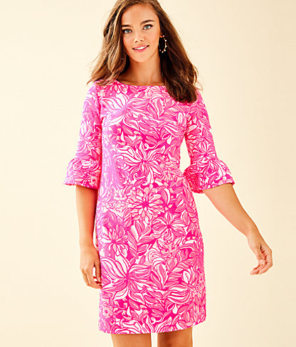 Alden Dress, Bougainvillea Pink Pawsitive Cattitude, large