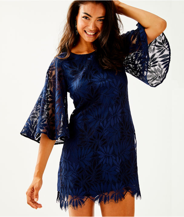 Jackelin Romper, True Navy Fern Gallery Lace, large