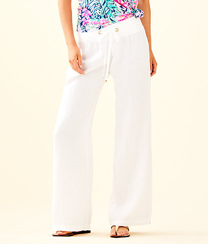 "33"" Linen Beach Pant, Resort White, large"