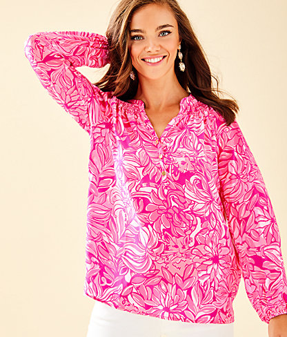 Elsa Silk Top, Bougainvillea Pink Pawsitive Cattitude, large