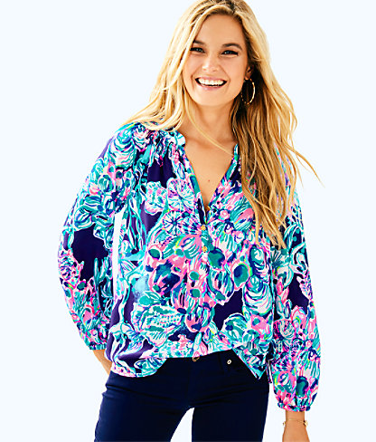 Elsa Silk Top, Bright Navy Caught Up, large