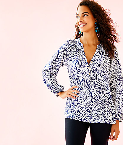 Elsa Silk Top, Bright Navy Pineapple Party, large