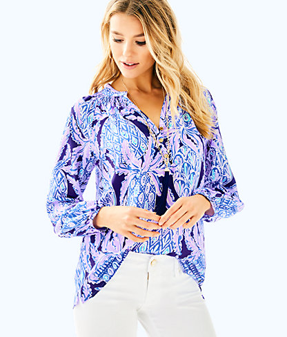 Elsa Silk Top, Lilac Verbena Pop Up Coco Safari, large
