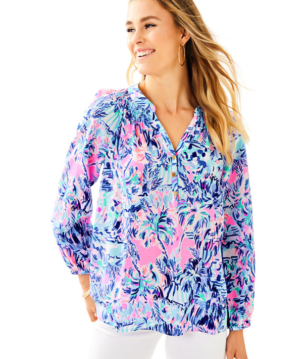 Elsa Silk Top, Multi Cabana Cocktail, large