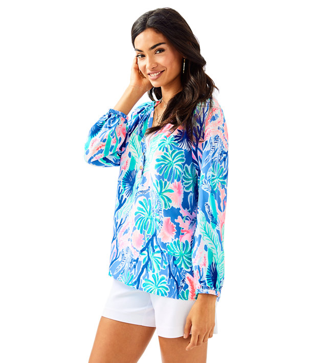 Elsa Silk Top, Multi Jet Stream, large