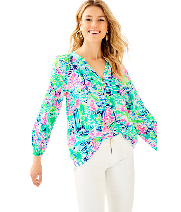 Elsa Silk Top, Multi Salt In The Air, large