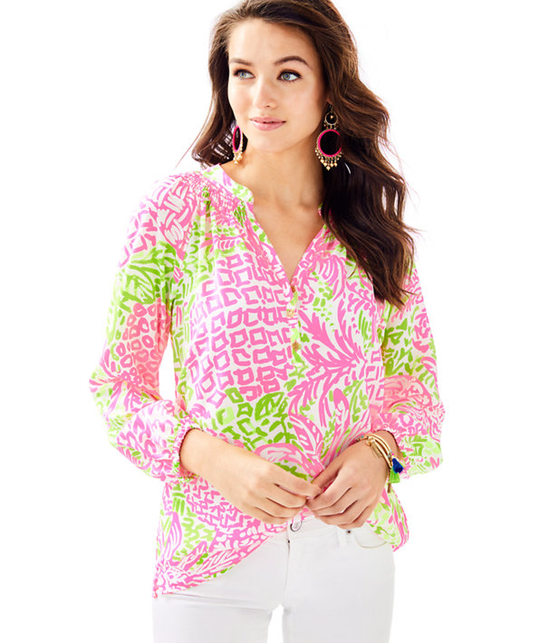 Elsa Silk Top, Pink Sunset Home Slice, large