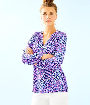 Elsa Silk Top, Royal Purple Pop Up Toe In, large
