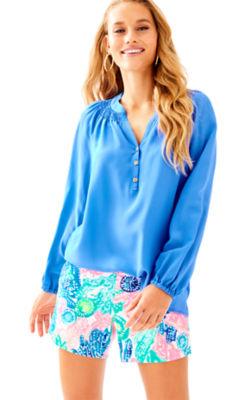Elsa Silk Top, Bennet Blue, large