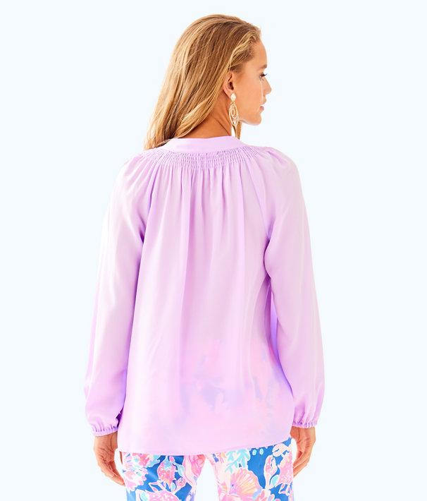 Elsa Silk Top, Light Lilac Verbena, large
