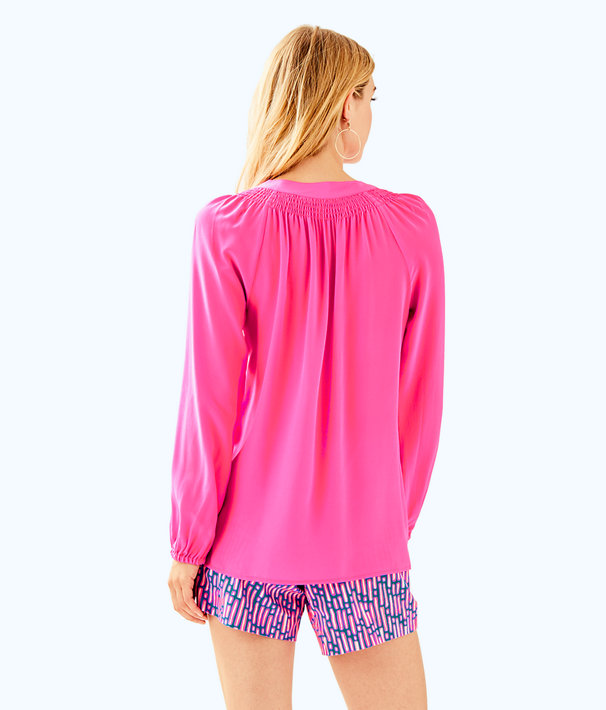 Elsa Silk Top, Mandevilla Pink, large