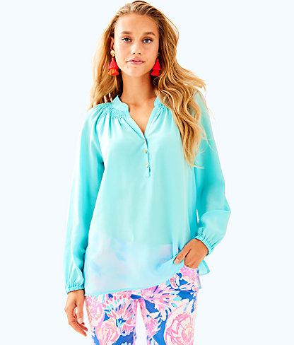 Elsa Silk Top, Seasalt Blue, large