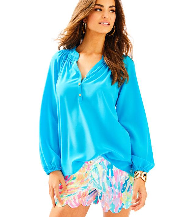 Elsa Silk Top, Sparkling Blue, large