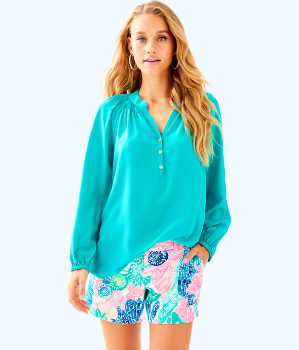 Elsa Silk Top, Tropical Turquoise, large