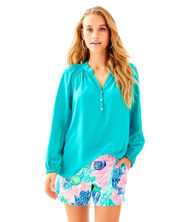 Elsa Silk Top, Tropical Turquoise, large