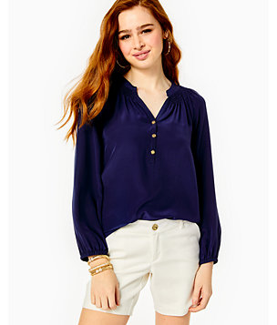 Elsa Silk Top, True Navy, large