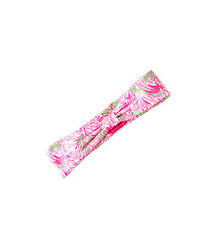 Printed Headband, Prep Green Pink Colony, large