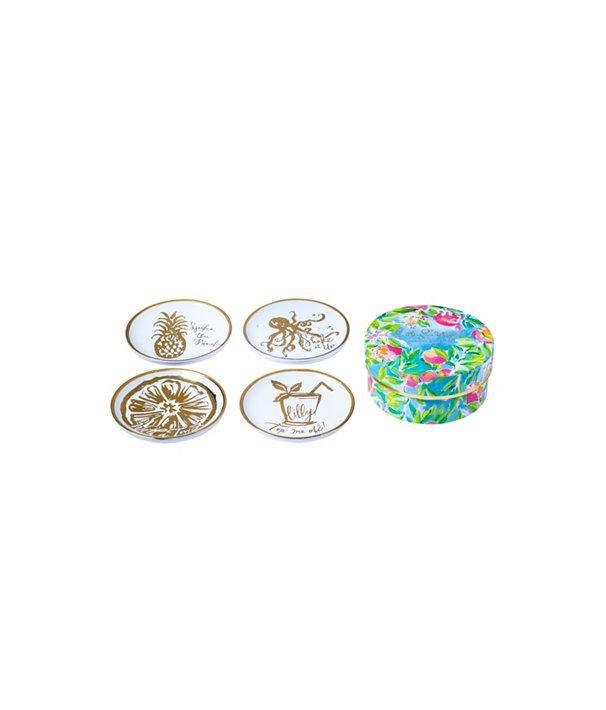 Ceramic Coasters, Gold Metallic Celebrations Coasters, large