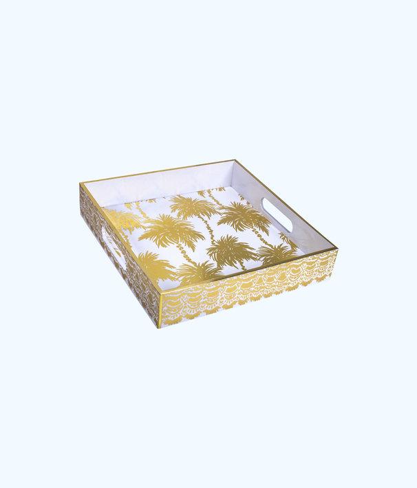 Lacquer Tray, Resort White Metallic Palms, large