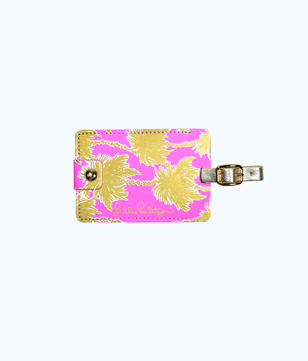 Luggage Tag, Pink Sunset Metallic Palms, large