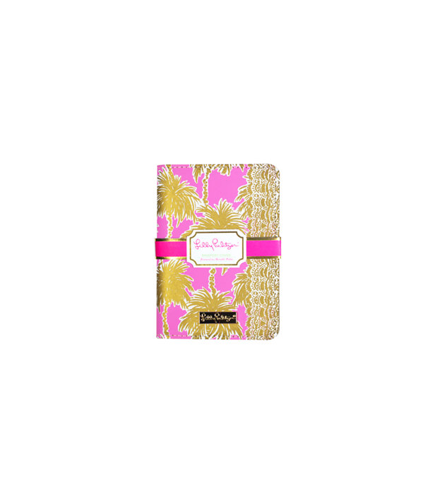 Passport Cover, Pink Sunset Metallic Palms, large