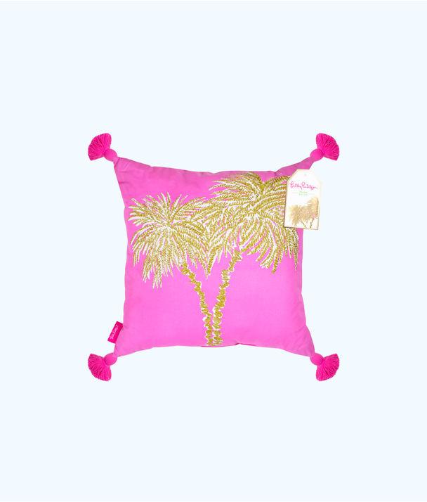Large Indoor Pillow, Pink Sunset Metallic Palms Large Pillow, large