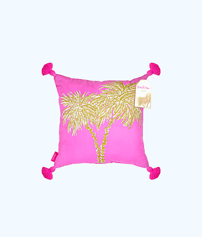 Large Indoor Pillow, Pink Sunset Metallic Palms Large Pillow, large