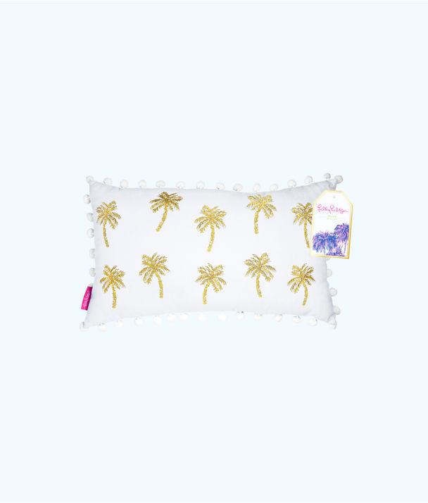 Medium Indoor Pillow, Resort White Metallic Palms Medium Pillow, large