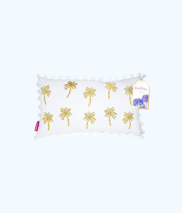 Medium Indoor Pillow, Resort White Metallic Palms Medium Pillow, large