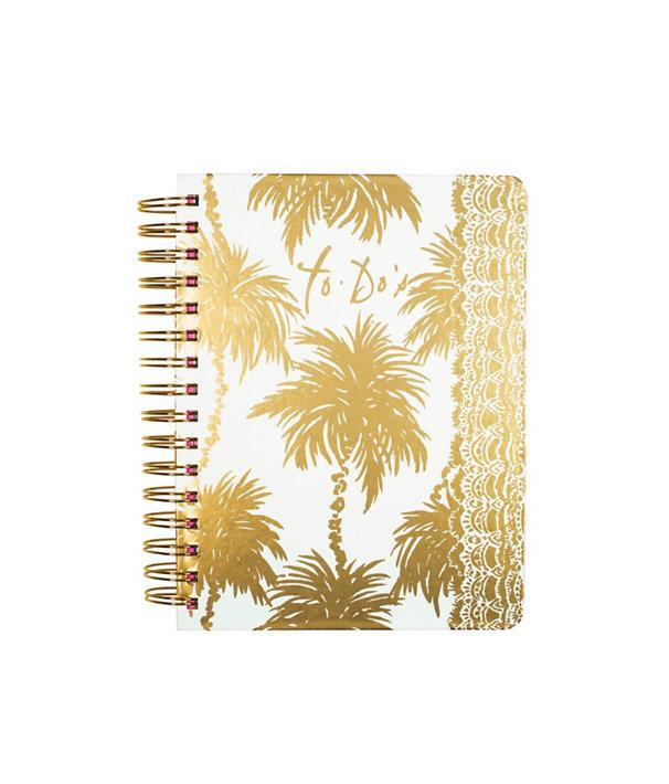 To Do Planner, Resort White Metallic Palms, large