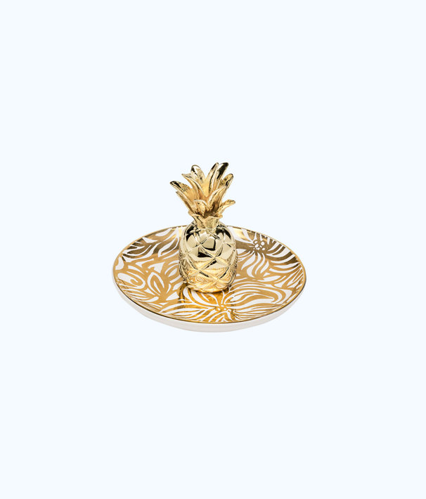 Ring Holder, Gold Metallic Swirling Floral, large