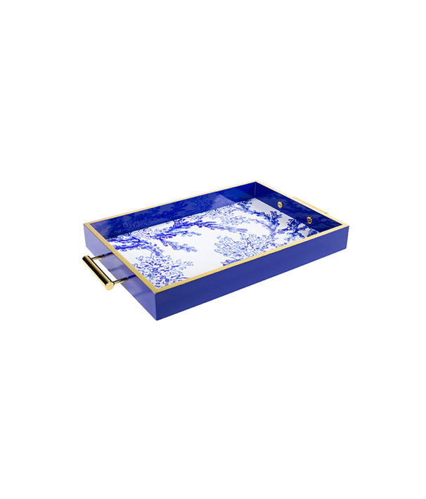 Lacquer Tray, Ikat Blue Coraly, large