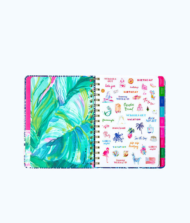 2018-2019 17 Month Large Agenda, Nauti Navy Flamingo Planner, large