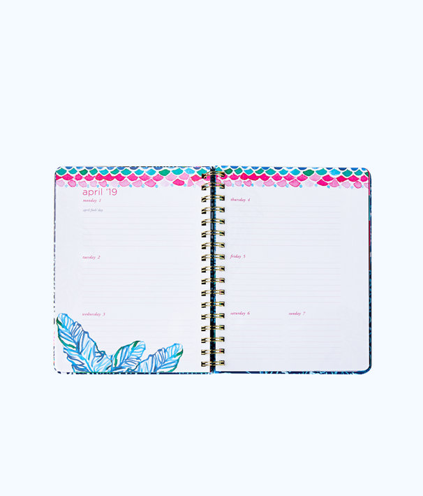 2018 - 2019 17 Month Large Agenda, Nauti Navy Flamingo Planner, large