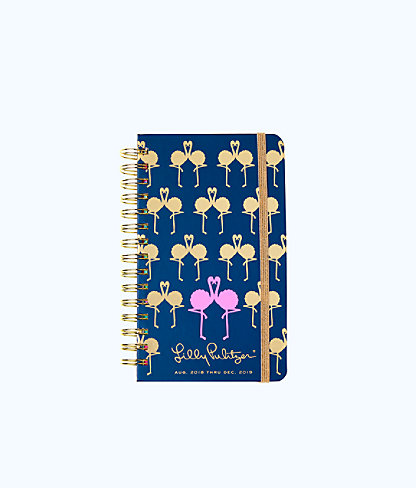 2018 - 2019 17 Month Medium Agenda, Nauti Navy Flamingo Planner, large