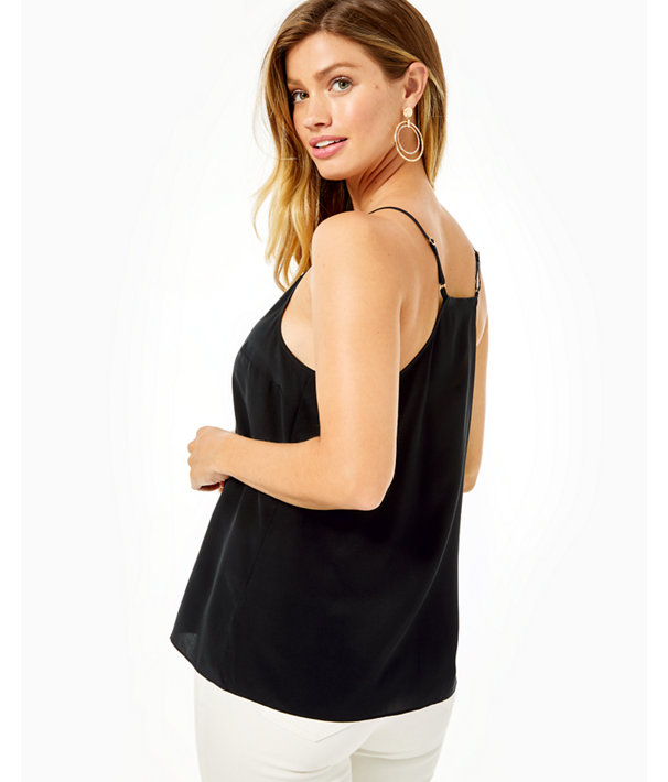 Dusk Racer Back Silk Tank Top, Onyx, large