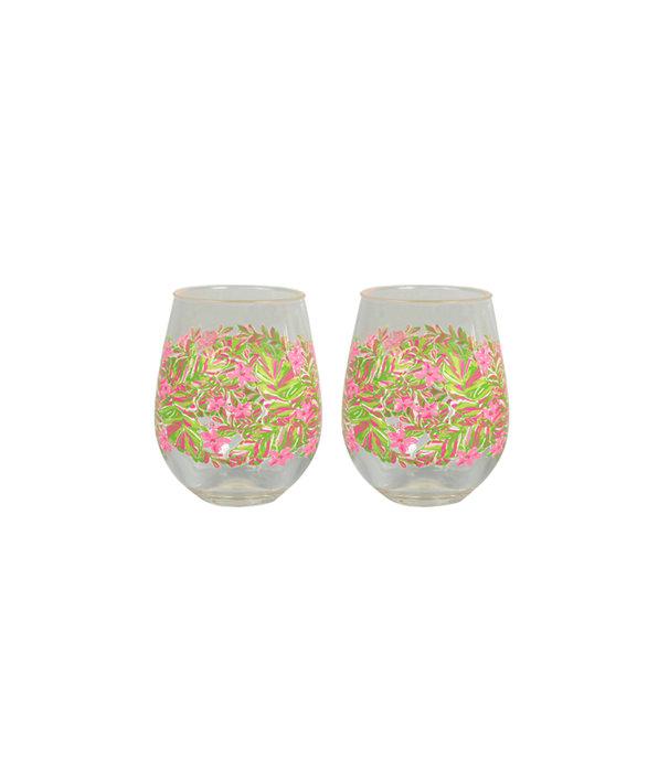 Stemless Acrylic Wine Glass Set, Pomegranate Jungle Tumble, large
