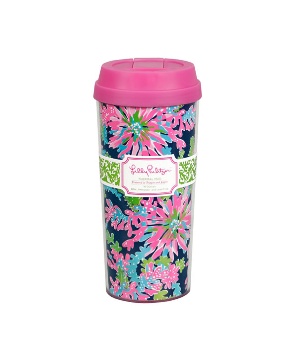 Thermal Mug, Bright Navy Trippin And Sippin Accessories, large