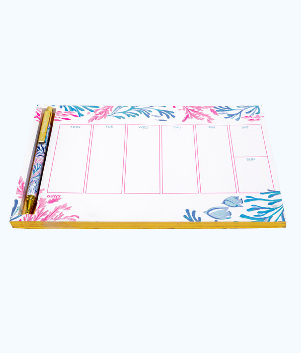 Weekly List Pad With Pen, Crew Blue Tint Kaleidoscope Coral, large