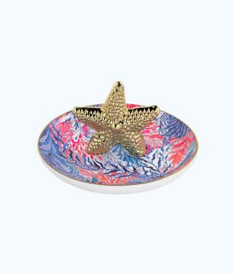 Ring Dish, Crew Blue Tint Kaleidoscope Coral, large 0