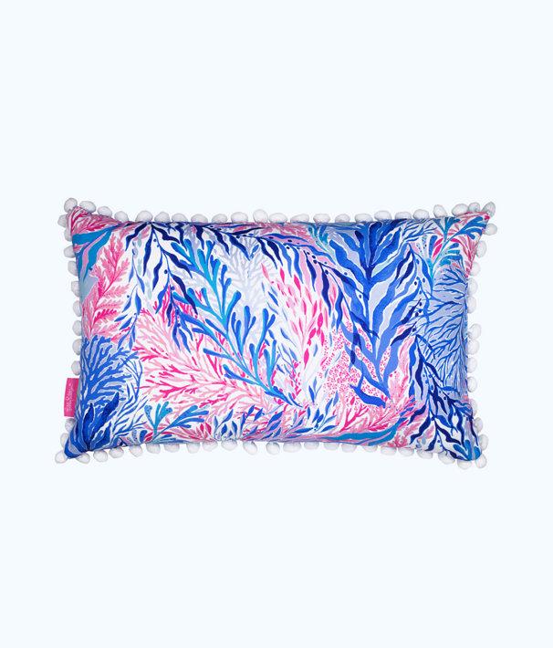 Medium Pillow, Crew Blue Tint Kaleidoscope Coral, large
