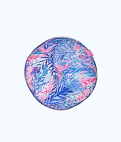 Round Pillow, Crew Blue Tint Kaleidoscope Coral, large 0
