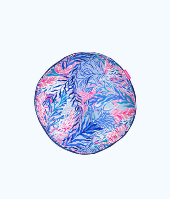 Round Pillow, Crew Blue Tint Kaleidoscope Coral, large