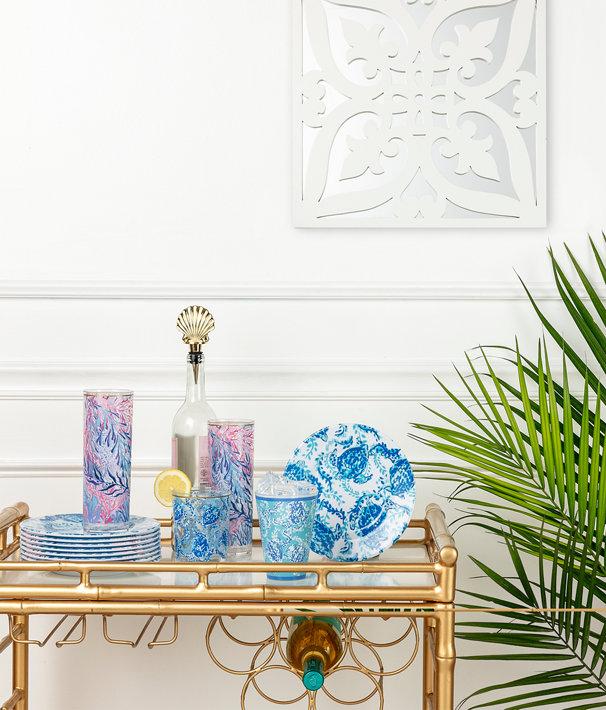 Hi Ball Glass, Crew Blue Tint Kaleidoscope Coral, large