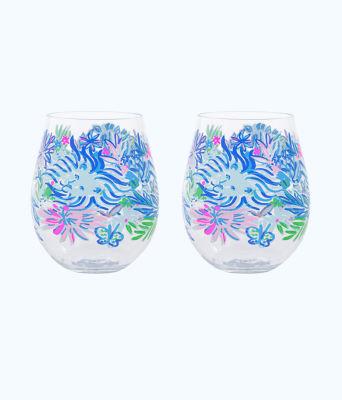 Wine Glass - Acrylic, Coastal Blue Lion Around, large