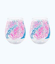 Wine Glass - Acrylic, Crew Blue Tint Kaleidoscope Coral, large