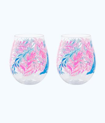 Wine Glass - Acrylic, Crew Blue Tint Kaleidoscope Coral, large 0