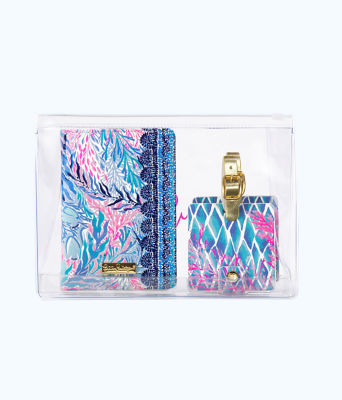 Passport and Luggage Tag Travel Set, Crew Blue Tint Kaleidoscope Coral, large 0